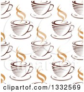 Clipart Of A Seamless Background Pattern Of Steamy Brown Coffee Cups 9 Royalty Free Vector Illustration