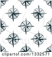 Clipart Of A Seamless Pattern Background Of Navy Blue Compasses Royalty Free Vector Illustration by Vector Tradition SM