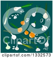 Clipart Of A Flat Design Of Bulb Vegetables Over Teal Royalty Free Vector Illustration