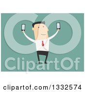Clipart Of A Flat Design White Business Man Holding Up Two Smart Phones On Green Royalty Free Vector Illustration by Vector Tradition SM