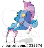 Clipart Of A Cartoon Gradient Purple And Blue Marine Fish Pointing To The Left With A Shadow Royalty Free Vector Illustration by dero
