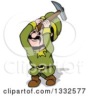 Clipart Of A Cartoon Miner Gnome Swinging A Pickaxe Royalty Free Vector Illustration by dero