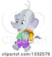 Cartoon Cute Happy Student Elephant Walking To School