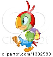 Cartoon Cute Happy Student Parrot Walking To School