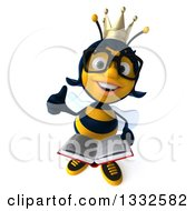 Clipart Of A 3d Happy Bespectacled Queen Bee Holding Up A Thumb And An Open Book Royalty Free Illustration