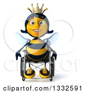 Clipart Of A 3d Happy Queen Bee In A Wheelchair Royalty Free Illustration