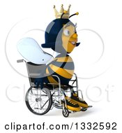 Clipart Of A 3d Happy Queen Bee In A Wheelchair Facing Right Royalty Free Illustration
