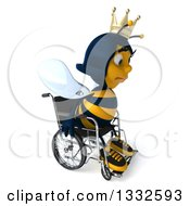 Clipart Of A 3d Sad Queen Bee In A Wheelchair Facing Right Royalty Free Illustration