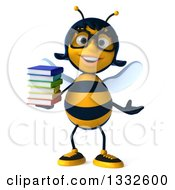 Clipart Of A 3d Bespectacled Female Bee Presenting And Holding A Stack Of Books Royalty Free Illustration