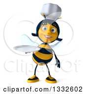 Clipart Of A 3d Female Chef Bee Holding A Plate Royalty Free Illustration