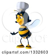 Clipart Of A 3d Female Chef Bee Presenting To The Left Royalty Free Illustration