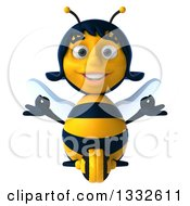 Clipart Of A 3d Female Bee Meditating Royalty Free Illustration