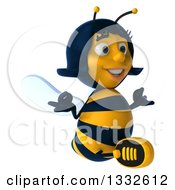Clipart Of A 3d Female Bee Meditating Facing Slightly Right Royalty Free Illustration
