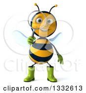 Clipart Of A 3d Happy Gardener Bee Searching With A Magnifying Glass Royalty Free Illustration