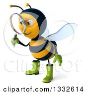 Clipart Of A 3d Happy Gardener Bee Facing Slightly Left And Searching With A Magnifying Glass Royalty Free Illustration
