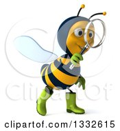 Clipart Of A 3d Happy Gardener Bee Walking To The Right And Searching With A Magnifying Glass Royalty Free Illustration