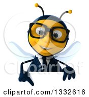 Clipart Of A 3d Bespectacled Business Bee Pointing Down Over A Sign Royalty Free Illustration by Julos