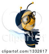 Clipart Of A 3d Bespectacled Business Bee Looking Around A Sign Royalty Free Illustration by Julos