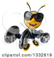 Clipart Of A 3d Business Bee Wearing Sunglasses Looking Up And Working Out With Dumbbells Royalty Free Illustration by Julos