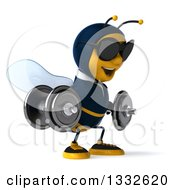 Clipart Of A 3d Business Bee Wearing Sunglasses Facing Slightly Right Doing Squats With Dumbbells Royalty Free Illustration by Julos