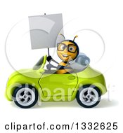Clipart Of A 3d Bespectacled Bee Driving A Green Convertible Car Royalty Free Illustration
