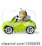 Clipart Of A 3d Bespectacled Bee Giving A Thumb Down And Driving A Green Convertible Car 3 Royalty Free Illustration