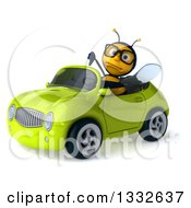 Clipart Of A 3d Bespectacled Bee Giving A Thumb Down And Driving A Green Convertible Car 2 Royalty Free Illustration