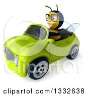 Clipart Of A 3d Bespectacled Bee Driving A Green Convertible Car 2 Royalty Free Illustration