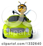 Clipart Of A 3d Bespectacled Bee Giving A Thumb Down And Driving A Green Convertible Car Royalty Free Illustration