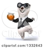 Clipart Of A 3d Business Polar Bear Wearing Sunglasses Jumping And Holding A Honey Jar Royalty Free Illustration by Julos