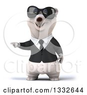 Clipart Of A 3d Business Polar Bear Wearing Sunglasses And Pointing To The Left Royalty Free Illustration by Julos