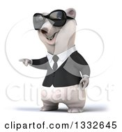 Clipart Of A 3d Business Polar Bear Wearing Sunglasses And Pointing To The Left 2 Royalty Free Illustration by Julos