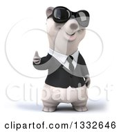 Clipart Of A 3d Business Polar Bear Wearing Sunglasses Giving A Thumb Up Royalty Free Illustration by Julos