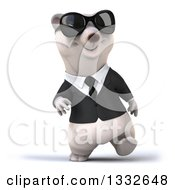Clipart Of A 3d Business Polar Bear Walking And Wearing Sunglasses Royalty Free Illustration by Julos
