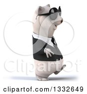Clipart Of A 3d Business Polar Bear Walking To The Right And Wearing Sunglasses Royalty Free Illustration by Julos