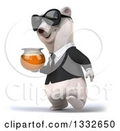 Clipart Of A 3d Business Polar Bear Wearing Sunglasses Walking Slightly Left And Holding A Honey Jar Royalty Free Illustration by Julos