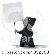 Clipart Of A 3d Black Bear Surfing Holding And Pointing To A Blank Sign Royalty Free Illustration