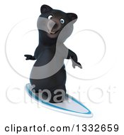 Clipart Of A 3d Black Bear Surfing Royalty Free Illustration