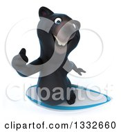 Clipart Of A 3d Black Bear Holding Up A Thumb And Surfing Royalty Free Illustration