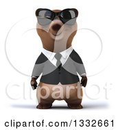 Clipart Of A 3d Brown Business Bear Wearing Sunglasses Royalty Free Illustration