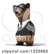 Clipart Of A 3d Brown Business Bear Wearing Sunglasses And Facing Slightly Left Royalty Free Illustration