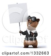 Clipart Of A 3d Brown Business Bear Wearing Sunglasses Holding And Pointing To A Blank Sign Royalty Free Illustration