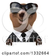 Clipart Of A 3d Brown Business Bear Wearing Sunglasses Over A Sign Royalty Free Illustration