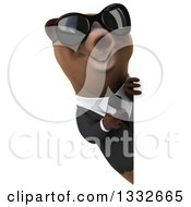 Clipart Of A 3d Brown Business Bear Wearing Sunglasses And Pointing Around A Sign Royalty Free Illustration