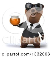 Clipart Of A 3d Brown Business Bear Wearing Sunglasses And Holding Up A Honey Jar Royalty Free Illustration
