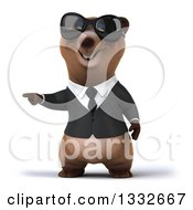 Clipart Of A 3d Brown Business Bear Wearing Sunglasses And Pointing To The Left Royalty Free Illustration