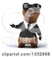 Clipart Of A 3d Brown Business Bear Wearing Sunglasses And Presenting Royalty Free Illustration