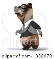 Clipart Of A 3d Brown Business Bear Wearing Sunglasses And Walking Slightly Left Royalty Free Illustration