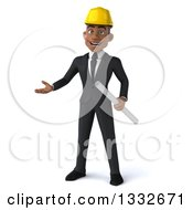 Clipart Of A 3d Young Black Male Architect Holding Plans And Presenting Royalty Free Illustration