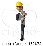 Clipart Of A 3d Full Length Young Black Male Architect Pointing And Looking Around A Sign Royalty Free Illustration by Julos